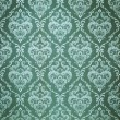 Seamless damask green wallpaper — Stock Photo
