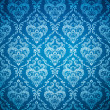Stock Photo: Seamless damask blue wallpaper