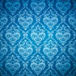 Seamless damask blue wallpaper — Stock Photo
