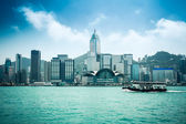 Hongkong skyline with ferryboat — Stock Photo