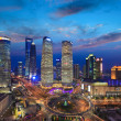 Aerial view of shanghai skyline at sunset — Stock Photo