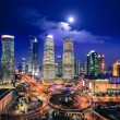 Bird's eye view of shanghai skyline at night — Stock Photo