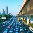 City traffic in morning — Stock Photo