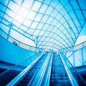 Escaleras mecánicas y cúpula de cristal — Foto de Stock