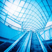 Escalator and glass dome — Stock Photo
