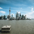 Shanghai skyline with huangpu river — Stock Photo