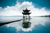 Chinese ancient pavilion on the west lake — Stock Photo