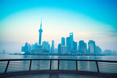 Shanghai dawn with railing — Stock Photo