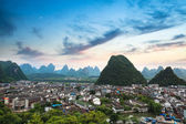 Yangshuo county town at sunset — Stock Photo