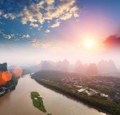 Yangshuo landscape in sunrise — Stock Photo