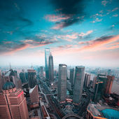 Shanghai financial center in sunset — Stock Photo