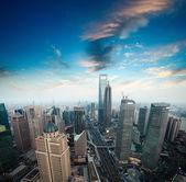 Shanghai financial center at dusk — Stock Photo