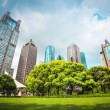 City greenbelt with modern buildings — Stock Photo