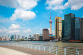 Shanghai skyline with railing — Stock Photo