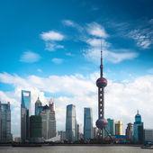 Shanghai skyline against a blue sky — Stock Photo