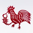 Paper cutting of the cock — Stock Photo
