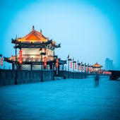 Ancient gate tower on city wall in xian — Stock Photo