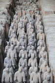 Many terracotta warriors in the pit — Stock Photo