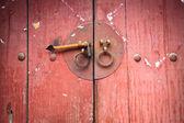Old wooden door with knocker — Stock Photo