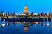 Giant wild goose pagoda at night — Stock Photo