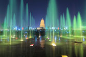 Xian at night, pagoda with fountains — Stock Photo