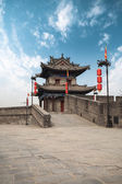 Ancient turret on city wall in xian — Stock Photo