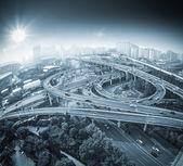 City overpass view of fisheye — Stock Photo