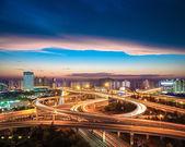 City overpass at nightfall — Stock Photo