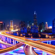 Stock Photo: Modern city skyline with interchange overpass at night
