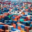 Stock Photo: Shipping containers in port