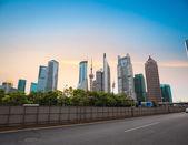Skyline du centre financier de shanghai au crépuscule — Photo