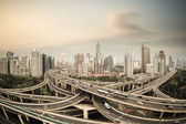 Shanghai elevated road junction panorama — Stock Photo