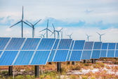 Solar and wind power in coastal saline and alkaline land — Stock Photo