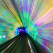 Motion fast in colorful tunnel — Stock Photo