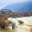 Huanglong scenery with travertine pond — Stock Photo