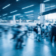Stock Photo: Passengers motion blur in subway station