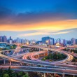 City interchange overpass in sunset — Stock Photo