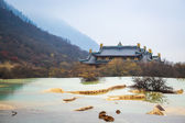 Huanglong scenery with calcification pond — Stock Photo