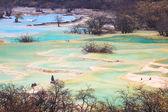 Beautiful travertine ponds in huanglong — Stock Photo