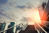 Urban outdoor stairs in sunset — Stock Photo