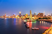 Shanghai bund panorama at night — Stok fotoğraf