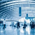 Modern airport terminal interior view — Stock Photo #34698773