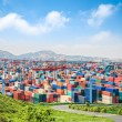 Container yard under the blue sky  — Stock Photo