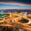 Interchange in nightfall — Stock Photo