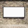 Blank billboard on old brick wall — 图库照片
