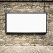 Stock Photo: Blank billboard on old brick wall