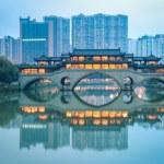 Chinese anshun bridge at dusk — Stock Photo #36568867