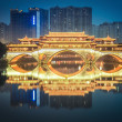 Stock Photo: Anshun bridge in chengdu at night