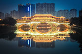 Anshun bridge in chengdu at night — Stock Photo