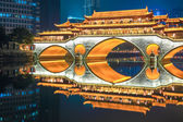 Chengdu old bridge at night — Stock Photo